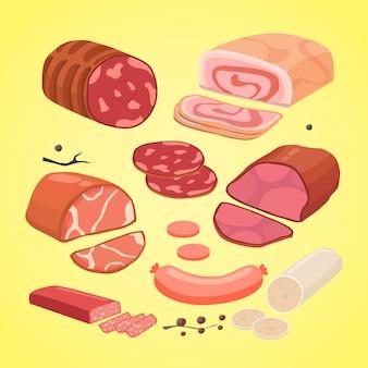 Conjunto de diferentes tipos de carne. lingüiça isolada de vetor.