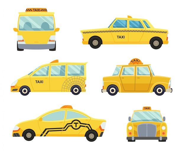Conjunto de diferentes tipos de carros de táxi
