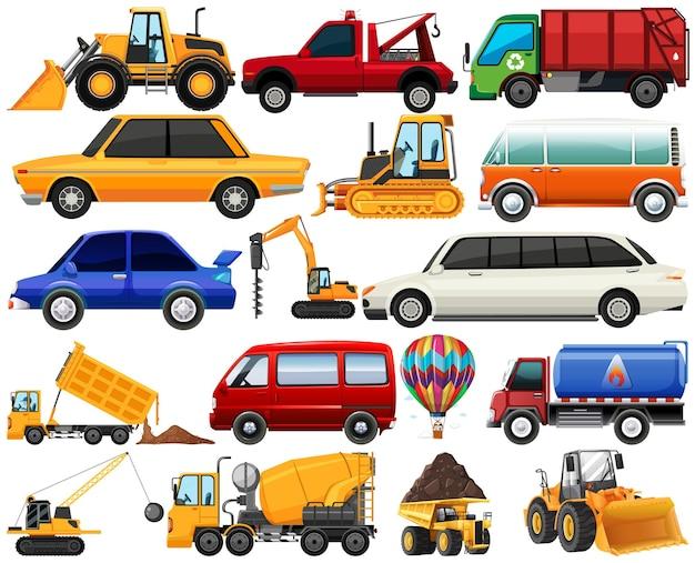 Conjunto de diferentes tipos de carros e caminhões isolados no fundo branco