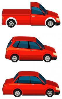 Conjunto de diferentes tipos de carros na cor vermelha