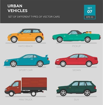Conjunto de diferentes tipos de carros vetoriais sedan
