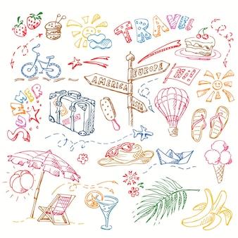 Conjunto de diferentes tipos de desenhos manuscritos com caneta colorida em tétrade sobre o tema descanso, praia e mar