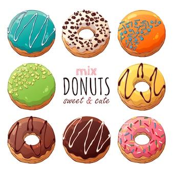 Conjunto de diferentes tipos de donuts vitrificados decorados com coberturas