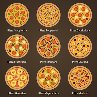 Conjunto de diferentes tipos de ícones lisos de pizza. pizza apetitosa com diferentes coberturas
