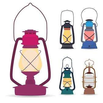 Conjunto de diferentes tipos de lâmpadas de acampamento de óleo em um estilo simples.