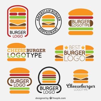 Conjunto de diferentes tipos de logotipos de hambúrguer
