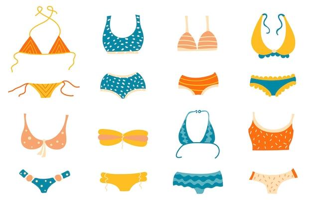 Conjunto de diferentes tipos de maiôs ou tops e calças de biquíni