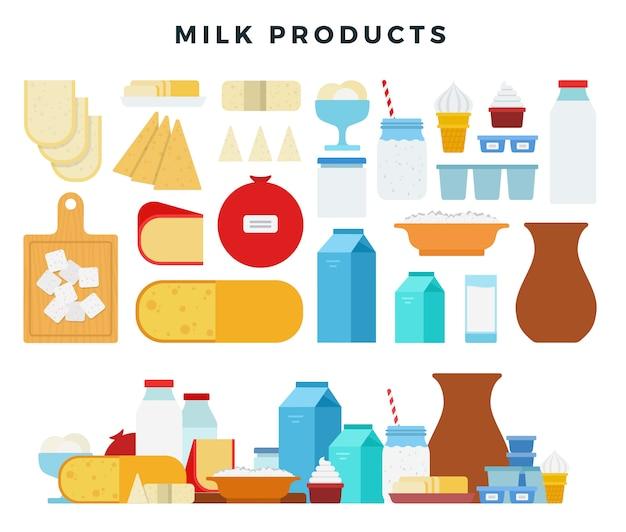 Conjunto de diferentes tipos de produtos lácteos. ilustração de produtos de leite.