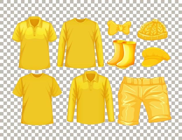 Conjunto de diferentes tipos de roupas amarelas