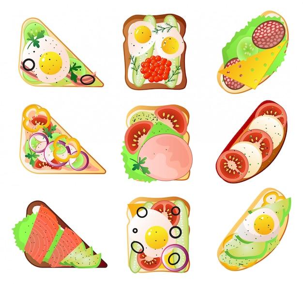 Conjunto de diferentes tipos de sanduíche para lancheira de legumes ou peixe