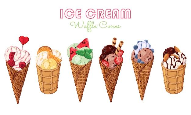 Conjunto de diferentes tipos de sorvete em cones de waffle decorados com frutas, chocolate ou nozes.
