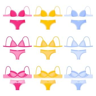 Conjunto de diferentes tipos e cores de lingerie feminina: calcinhas e sutiãs.