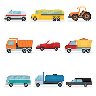 Conjunto de diferentes transportes urbanos. carros públicos, industriais e de serviço. automóveis de passageiros
