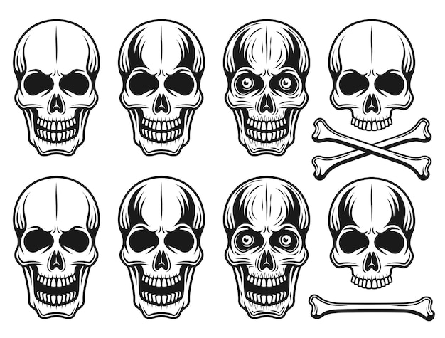 Conjunto de diferentes variantes de ilustração de crânios em estilo vintage monocromático