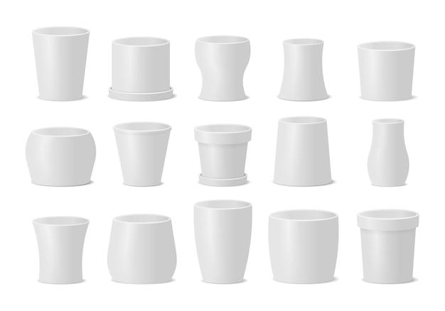 Conjunto de diferentes vasos para plantas e flores em estilo realista. planta de flor, botânica, vaso de flores.