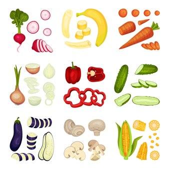 Conjunto de diferentes vegetais inteiros e fatiados