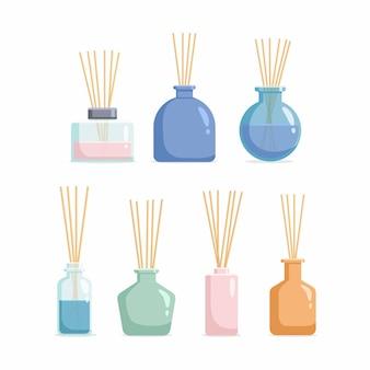 Conjunto de difusores aromáticos com óleo perfumado e juncos