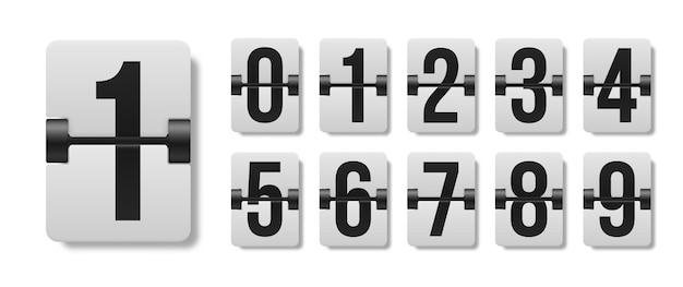 Conjunto de dígitos do placar mecânico. dígito preto no quadro branco. caracteres e números.