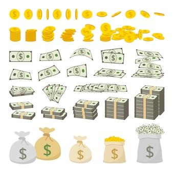 Conjunto de dinheiro de cifrão e moedas de ouro, isoladas no fundo branco