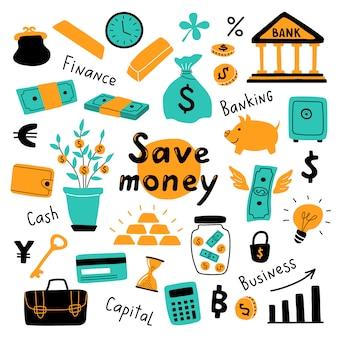 Conjunto de dinheiro, símbolos de negócios e elementos financeiros.