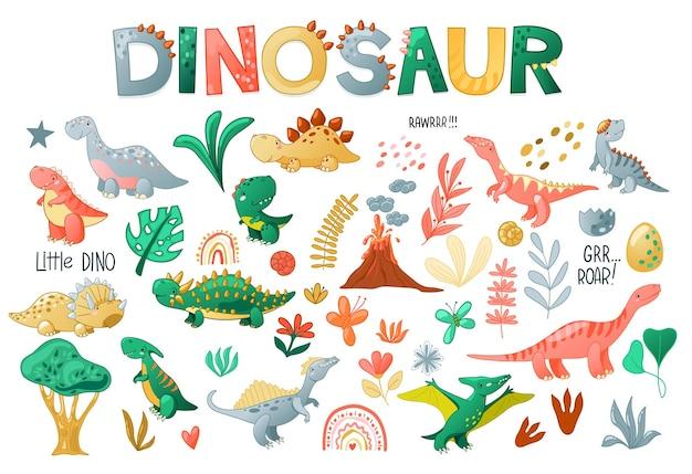 Conjunto de dinossauro bonito dos desenhos animados. personagens engraçados de dino para crianças de design. ilustração vetorial isolada no fundo branco.
