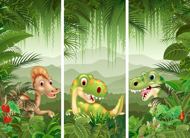Conjunto de dinossauro com fundo de floresta tropical