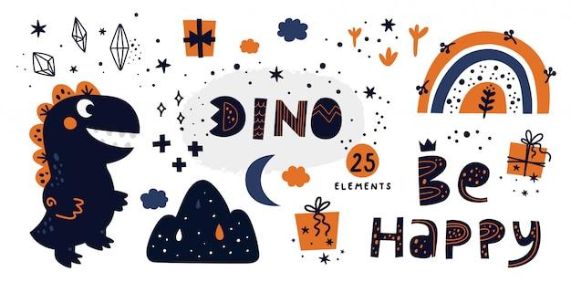 Conjunto de dinossauro desenhado de mão com elementos de doodle para crianças