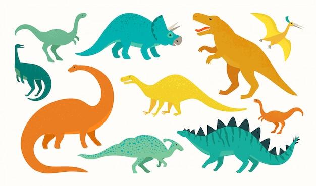Conjunto de dinossauro dos desenhos animados. coleção de ícone de dinossauros bonitinho.