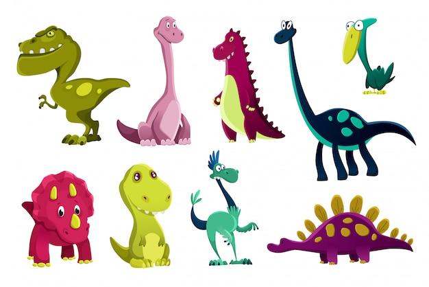 Conjunto de dinossauros bebê, gira impressão. dinos doces. ilustração de dinossauros pequenos legal para t-shirt de berçário, vestuário de crianças, convite, design escandinavo simples de criança