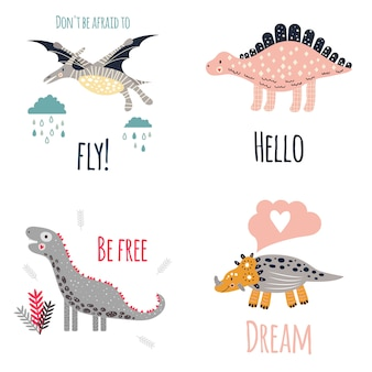 Conjunto de dinossauros bonito