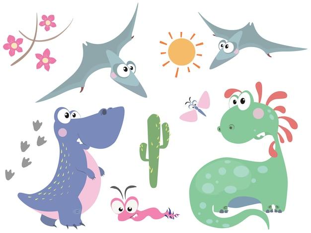 Conjunto de dinossauros bonitos em estilo cartoon