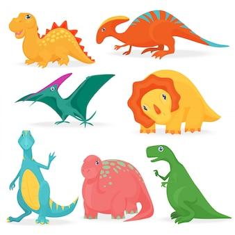 Conjunto de dinossauros brilhantes bonitos adoráveis