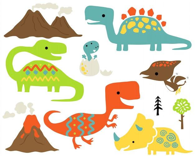 Conjunto de dinossauros coloridos dos desenhos animados