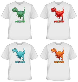 Conjunto de dinossauros de cores diferentes em camisetas