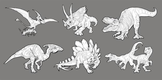 Conjunto de dinossauros de desenho animado isolado em cinza