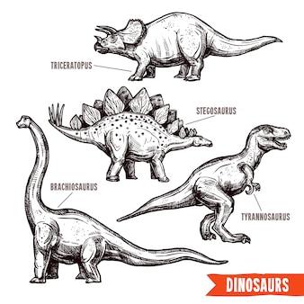 Conjunto de dinossauros de mão desenhada doodle preto