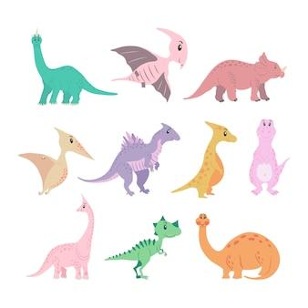 Conjunto de dinossauros dos desenhos animados