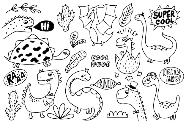 Conjunto de dinossauros engraçados mão desenhada.