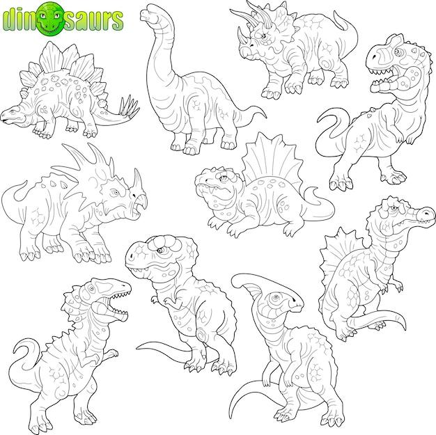 Conjunto de dinossauros engraçados