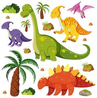Conjunto de dinossauros fofos em fundo branco