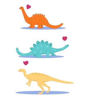 Conjunto de dinossauros fofos. ilustração em vetor plana.
