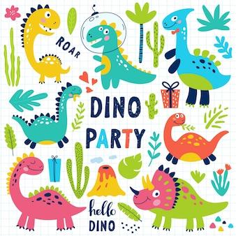 Conjunto de dinossauros fofos para impressão de crianças.