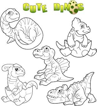 Conjunto de dinossauros fofos
