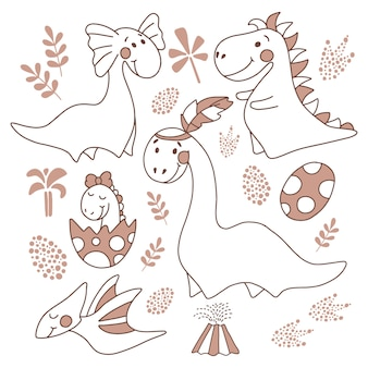 Conjunto de dinossauros, ilustração vetorial