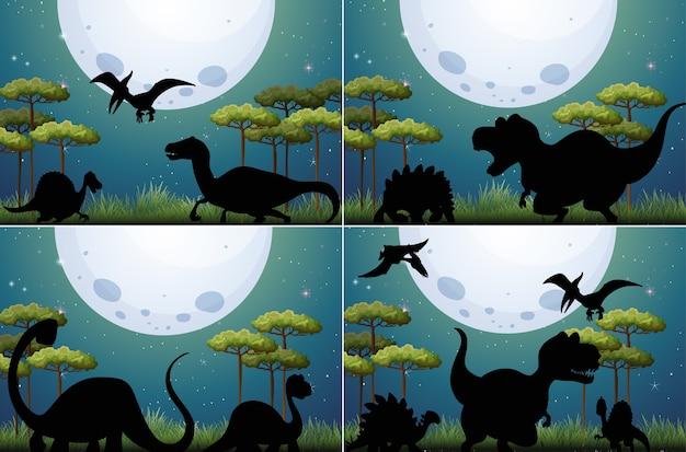 Conjunto de dinossauros na natureza