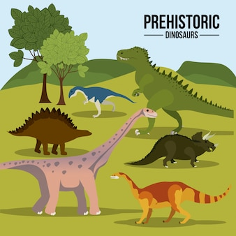 Conjunto de dinossauros pré-históricos