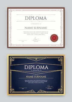 Conjunto de diploma ou certificado de modelo de design premium em vetor