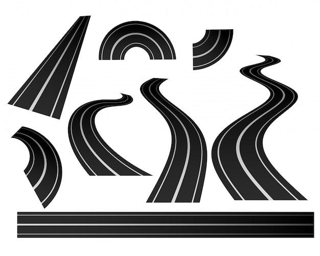 Conjunto de direção curva de estrada sinuosa