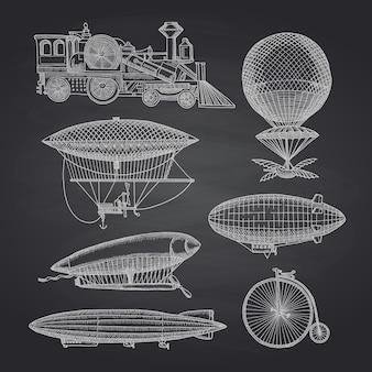 Conjunto de dirigibles de mão desenhada de steampunk, bicicletas e carros na ilustração de lousa preta