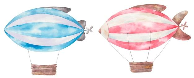Conjunto de dirigíveis listrados com listras vermelhas e azuis, ilustração fofa